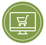 Icon of shopping trolley on computer screen